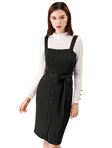Allegra K Women's Button Decor Strap Sheath Suspender Overall Jumper Dress L Black