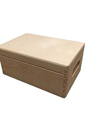 30x20x14 con Tapa Amazinggirl Caja de Uso m/últiple con o sin Tapa Madera Cofre del Tesoro Cerrable Regalo Natural Universal Almacenamiento Decoupage