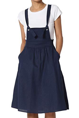 dacb2c10b96 TheMogan Junior s Gingham Check Linen Blend Woven Overall Mini Dress ...