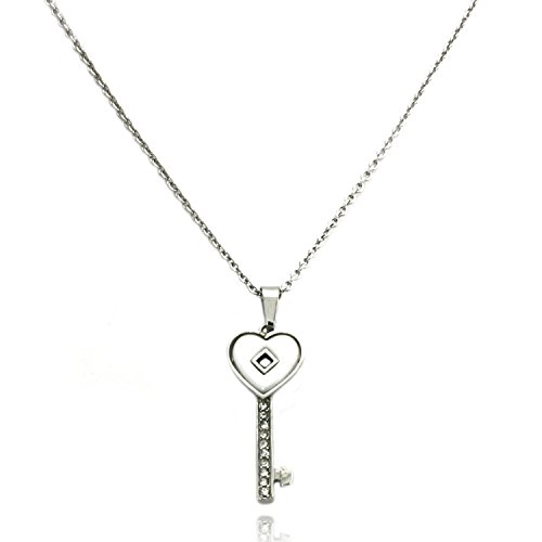 (TIONEER Stainless Steel White Ceramic Element Heart Key Charm Pedant)