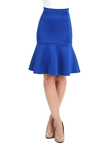 Tail Blue Skirt - WT1471 Womens High Waist Bodycon Fishtail Midi Skirt XXL Royal_Brite