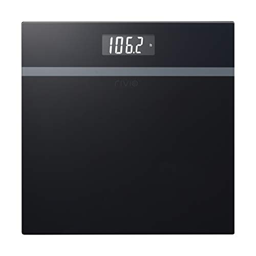 RIVIO Digital Body Weight Bathroom Scale with Large LCD Backlight Display, High Precision Measurements, 440Ibs/31st/200kg Capacity(Black)