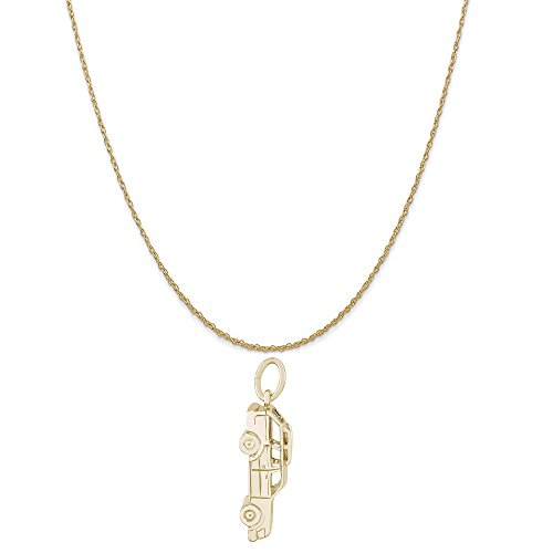 - Rembrandt Charms 14K Yellow Gold Station Wagon Charm on a 14K Yellow Gold Rope Chain Necklace, 18