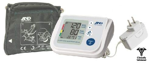 A&D Medical Upper Arm Blood Pressure Monitor for Multiple Users with Wide Range Cuff, Includes AC Adapter (UA-767FAC)