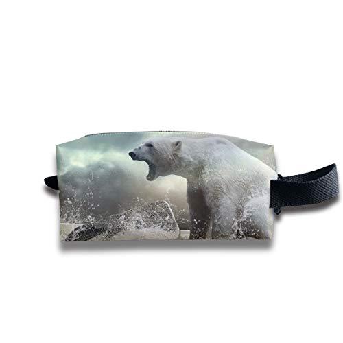 Clash Durable Zipper Wallet Makeup Handbag With Wrist Band Polar Bear On Ice Toiletry Bag -