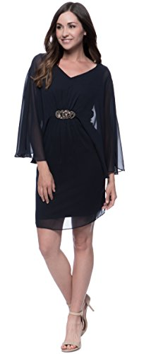 Connected Apparel Embellished Sheer Overlay Dress (Butterfly Embellished Dress)