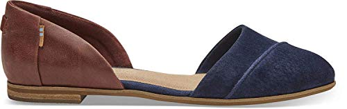 TOMS Women's Jutti D'Orsay Navy/Penny Brown Suede/Leather 6 B -