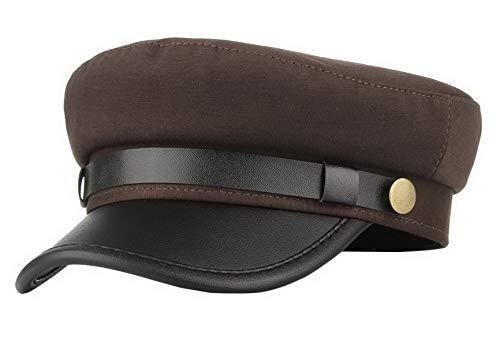 Brcus Men Women Yacht Captain Sailor Hat Newsboy Cabbie Baker Boy Peaked Beret Cap Brown