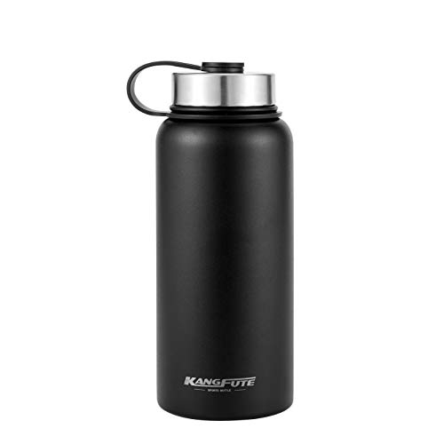 (KANGFUTE 18/8 Stainless Steel Water Bottle, Wide Mouth Double Walled Vacuum Insulated Thermo Flask, BPA Free with Leak Proof Lid, Keeps Drinks Hot for 24 Hours, Cold for 12 Hours Matte Black 32oz)