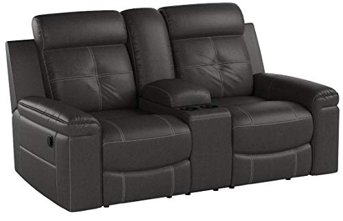 Signature Design by Ashley Jesolo Double Reclining Loveseat with Console Dark Gray