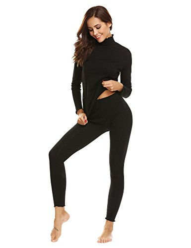Vansop Womens Thermal Underwear Set Henley Base Layer Stretch Top & Bottom by Vansop