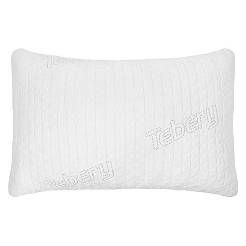 (Tebery Adjustable Loft Shredded Memory Foam Pillow Washable Cooling Bamboo Cover - Queen )