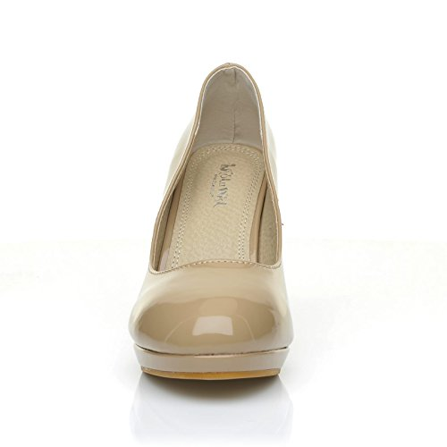 ShuWish UK Chip Dark Nude Patent Leather Pumps Mid-High Heel Low Platform Office Court Shoes JB02dp
