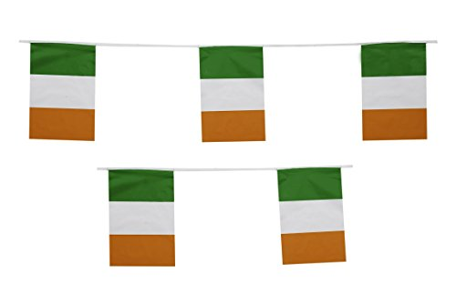 Ireland Flag St Patrick's Day Paddy Irish String Flags Banner 33ft Decoration by Super -