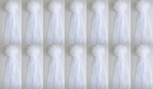 White Tulle Wedding Pew Bows Church Decorations Bridal Baby Shower Bows 14PC SET ()