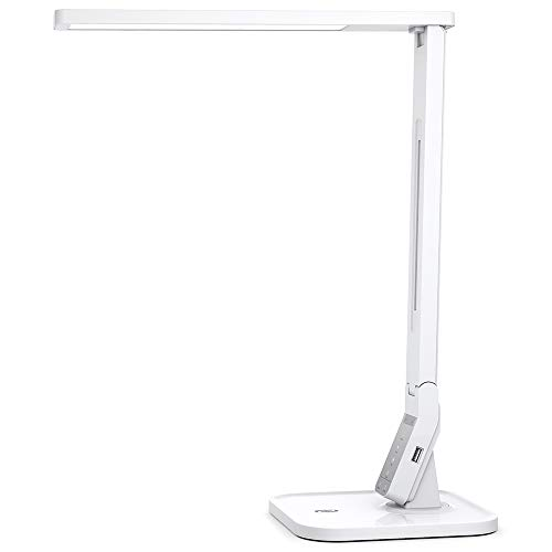 TaoTronics LED Desk Lamp with USB Charging Port, 4 Lighting Modes with 5 Brightness Levels, 1h Timer, Touch Control, Memory Function, White, 14W, Official Member of Philips Enabled Licensing Program (Lamps Table Lighting)