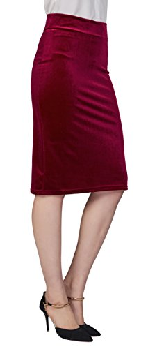Urban CoCo Women's Elastic Waist Stretch Velvet Bodycon Pencil Skirt (L, Wine red-Midi)