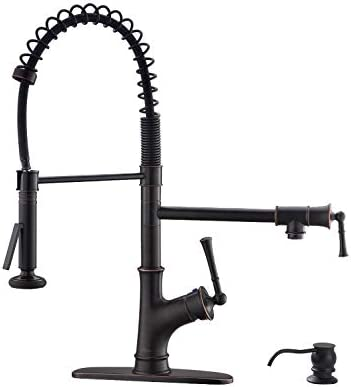 APPASO Commercial Spring Pull Down Kitchen Faucet with Sprayer and Pot Filler Oil Rubbed Bronze, Single Handle Spring Pre-Rinse High Arc Tall Modern Kitchen Sink Faucet with Soap Dispenser