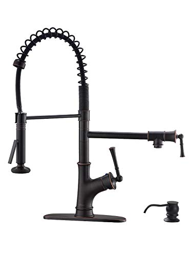 APPASO Commercial Spring Pull Down Kitchen Faucet with Sprayer and Pot Filler Oil Rubbed Bronze, Single Handle Spring Pre-Rinse High Arc Tall Modern Kitchen Sink Faucet with Soap Dispenser (Best Spring Pull Down Kitchen Faucet)