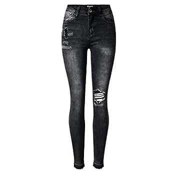 Anaisy Pantalones Vaqueros para Mujer Gris Negro Mendigo ...