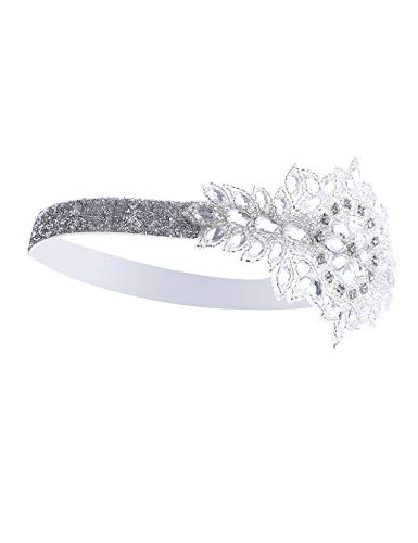 Women's Art Deco 1920s Vintage Flapper Headband Headpiece Accessories White]()