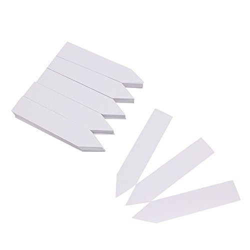 Mziart 100Pcs Plastic Plant Tags 4 Inch Waterproof Nursery Garden Labels Markers for Seed Trays and Pots Greenhouse (Grey White)