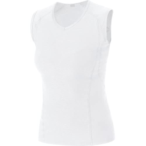Gore Bike Wear Femme Sous-vêtement, Débardeur, Stretch, Respirant, GORE Selected Fabrics, BASE LAYER Lady Singlet, Taille XL, Blanc, USINGW