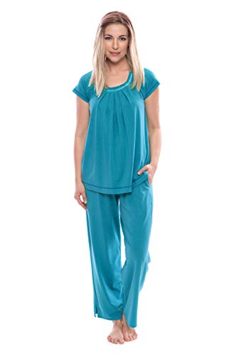(Texere Women's Pajamas in Bamboo Viscose (Bamboo Bliss, Capri Breeze, L) Vday Gift)