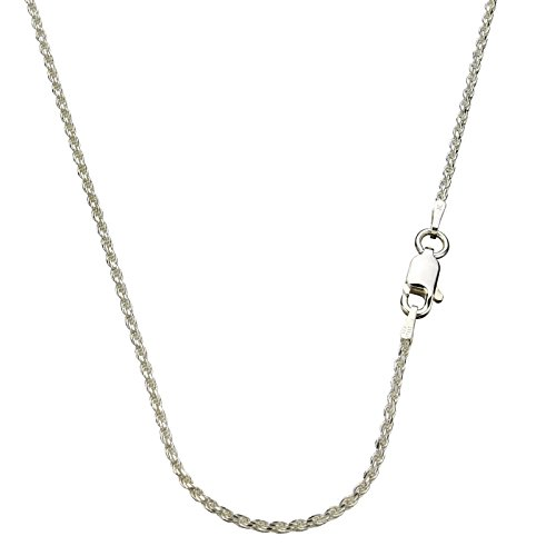 Sterling Silver 1.5mm Diamond-Cut Rope Nickel Free Chain Necklace Italy, 18