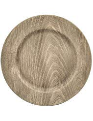 - Faux Wood Charger Plates in Grey or Gold set of 4