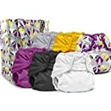 Rumparooz One Size Cloth Diaper Covers, Snap -6 Pack- Plus Exclusive Reusable Kanga Care Tote Bag- Bonnie