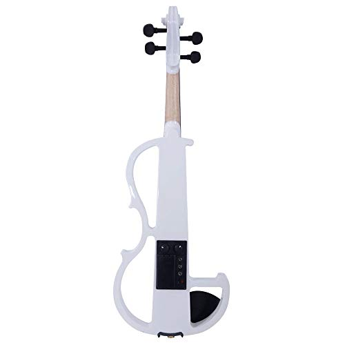 GHP White Maple Basswood & Metal 8 Pattern Electroacoustic Violin w Case Bow & Rosin by Globe House Products