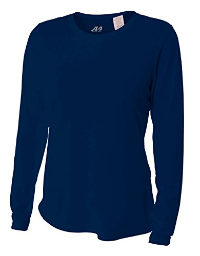 (A4 Women's Cooling Performance Crew Long Sleeve T-Shirt, Navy, Small)