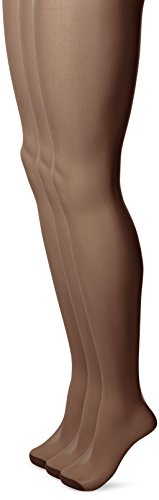 No Nonsense Women's Ultra Sheer Regular Pantyhose with Reinforced Toe , Coffee, C,(Pack of 3) (Soft Womens Pantyhose)