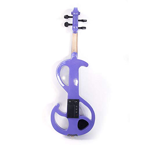 GHP Light Purple Basswood & Metal 8 Pattern Electroacoustic Violin w Case Bow & Rosin by Globe House Products