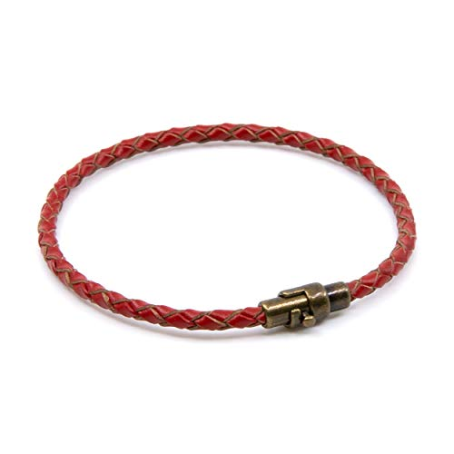 - Lobo Verde Handmade Single Wrap Braided Leather Bracelet with Magnetic Copper Clasp (Red, 6)