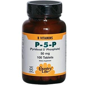 Country Life P-5-P (phosphate de pyridoxal) 50 mg, 100 caps