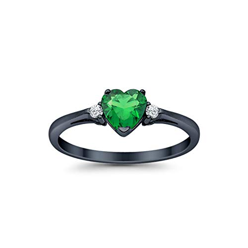 Blue Apple Co. 925 Sterling Silver Promise Ring Heart Shaped Simulated Emerald Black Tone Rhodium PL Clear CZ - Shaped Emerald Heart