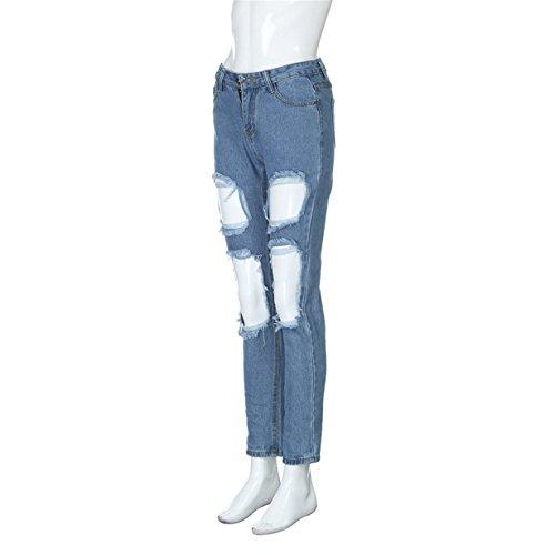 azul Pitillo Vaqueros ♣ Longra Pantalones Otoño 2017 Azul Mujer Elásticos Desgastados F q1wa4B7