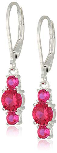 - Sterling Silver Created Ruby 5mm and 3mm Three Stone July Birthstone Leverback Dangle Earrings