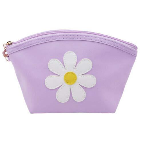 Women Flowers Printing Travel Makeup Case Cosmetic Bags Mini Handbag Jian (Color - Purple) (Embroidered Interlock)