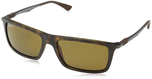 Ray-Ban Men's Injected Man Polarized Rectangular Sunglasses, Matte Havana, 59 - Ban For Sunglasses Ray Parts