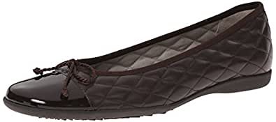 French Sole FS/NY Women's Passport R Ballet Flat, Brown Patent/Brown Leather, 5 M US