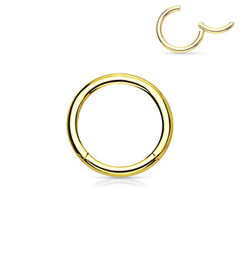 Forbidden Body Jewelry 16G 6mm Surgical Steel Hinged Easy Use Hassle Free Seamless Hoop Body Piercing Ring, Gold Tone