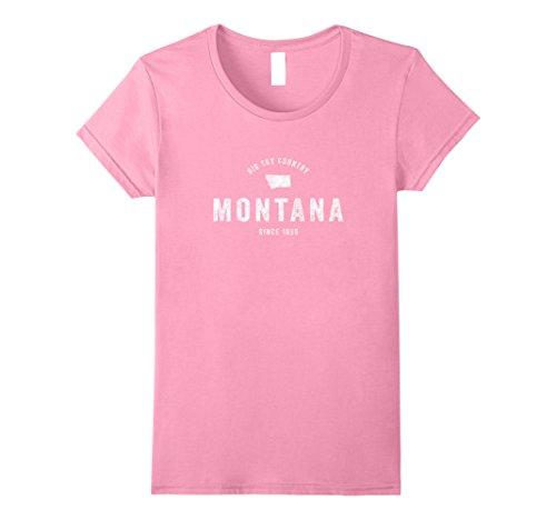Womens Montana T Shirt Vintage Sports Design Retro Mt Tee Large Pink