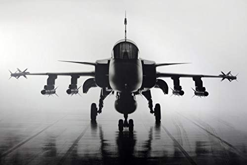 Fighter Jet Military Aircraft Front Carrier Deck Black and White Photo Poster 36x24 inch