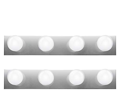 Hyperikon Vanity Lights, 4 Light Vanity Bar Strip Fixture, 24 Inch with 4 Sockets (E26 Medium Base), Polished Chrome Vanity Lights, Plug and Switch Rotary Cord - Bulbs Not Included (2 Pack)