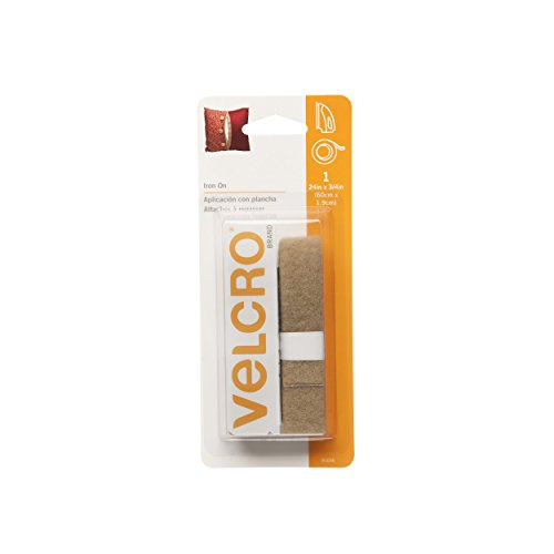 VELCRO Brand for Fabrics | Iron On Tape for Alterations and Hemming | No Sewing or Gluing | Heat Activated for Thicker Fabrics | Cut-to-Length Roll, 24 in x 3/4 in, Beige