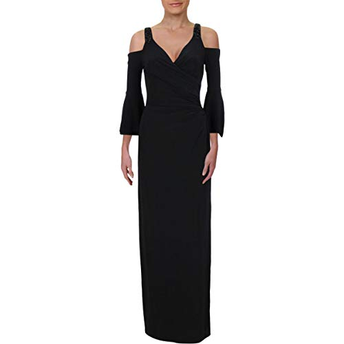 LAUREN RALPH LAUREN Womens Beaded Cold Shoulder Evening Dress Black 2