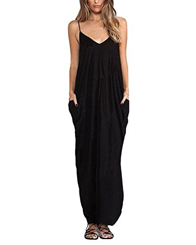 Kidsform Long Maxi Dresses for Women Cotton Spaghetti Strap V Neck Plus Size Plain Sundresses Summer Beach Party Casual Comfy Beachwear P-Black X-Large